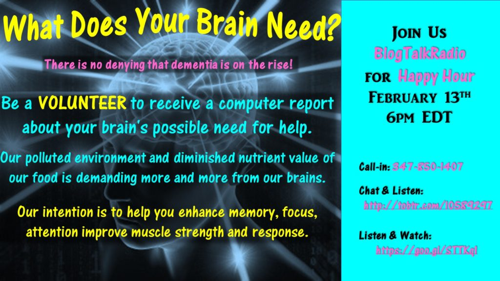 What Does Your Brain Need? Happy Hour Flyer