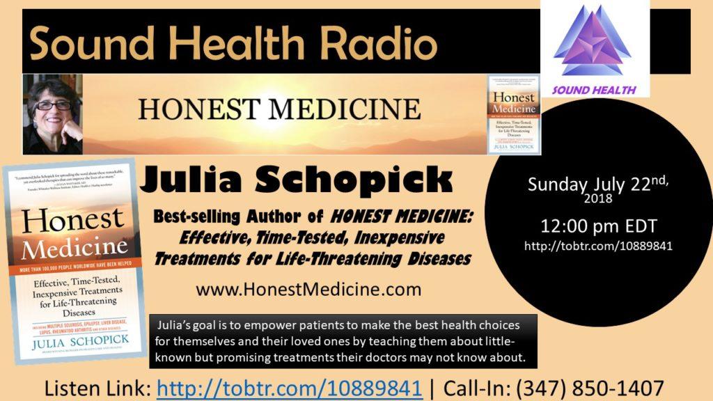 Julia Schopick appearance on Sound Health Radio flyer