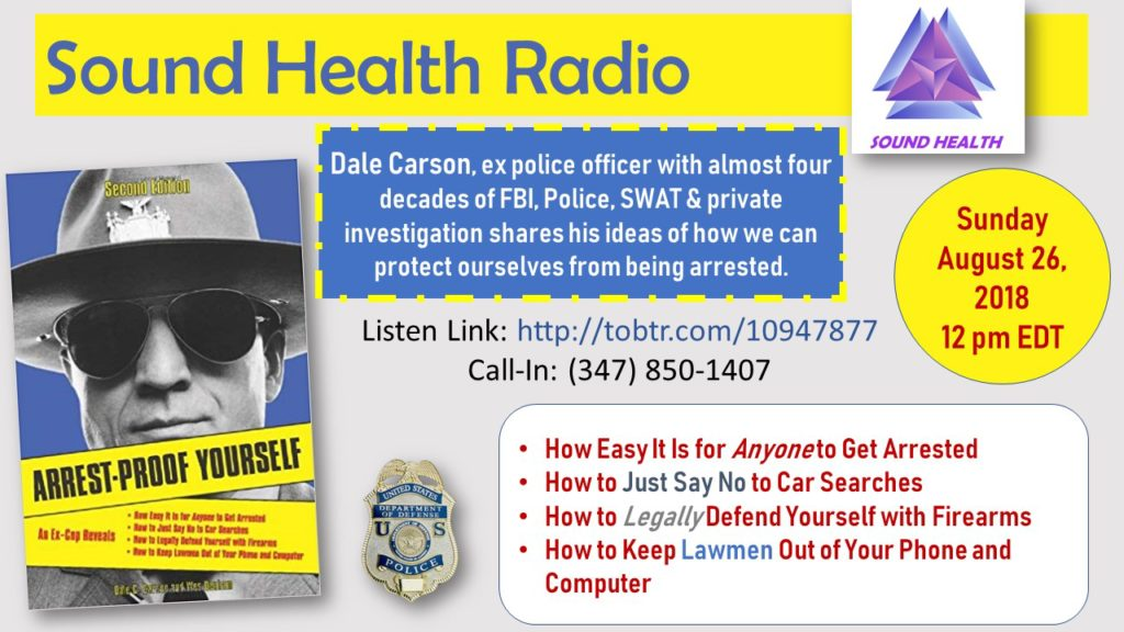 Dale Carson appearance on Sound Health Radio flyer