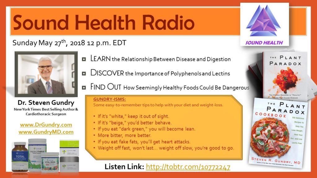Dr. Gundry appearance on Sound Health Radio flyer