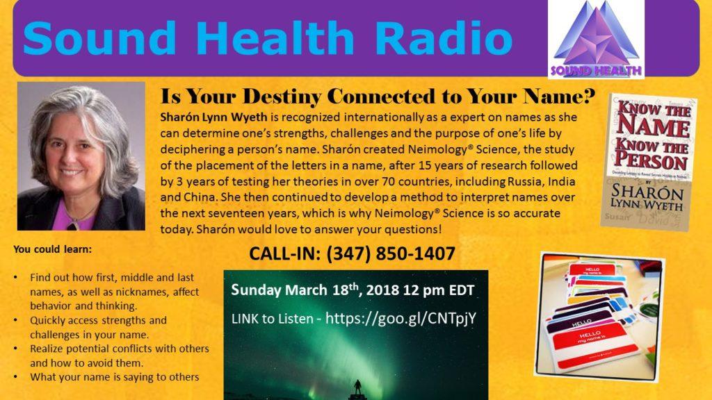Sharon Wyeth appearance on Sound Health Radio