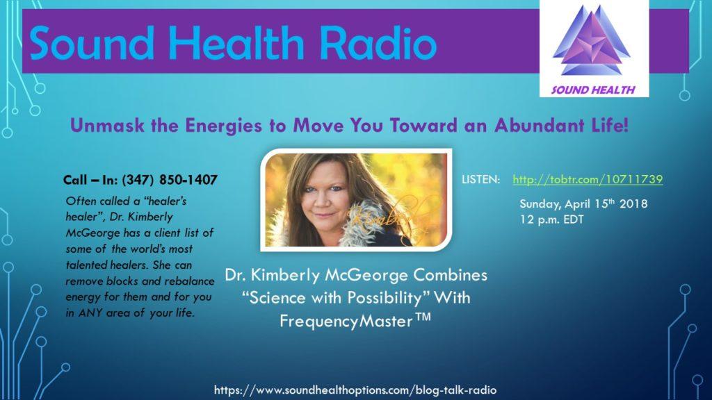 Kimberly McGeorge appearance on Sound Health Radio flyer