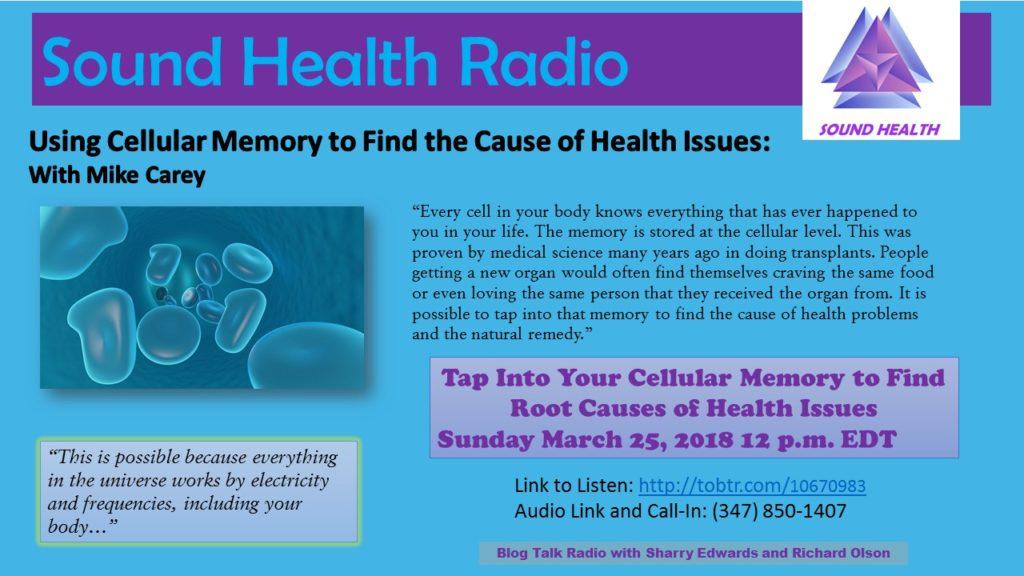 Mike Carey appearance on Sound Health Radio flyer