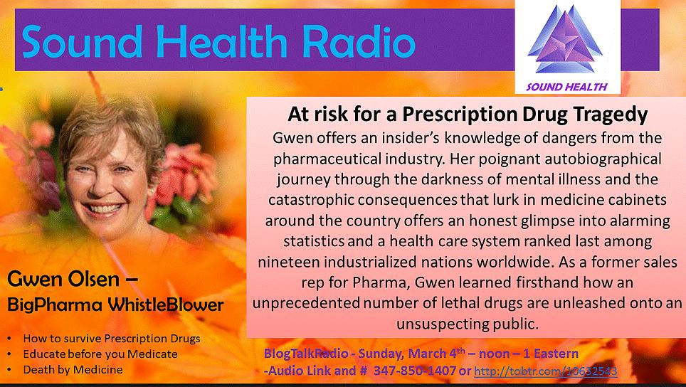 Gwen Olsen appearance on Sound Health Radio flyer