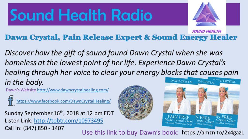 Flyer on Dawn Crystal's Sound Health Radio Appearance